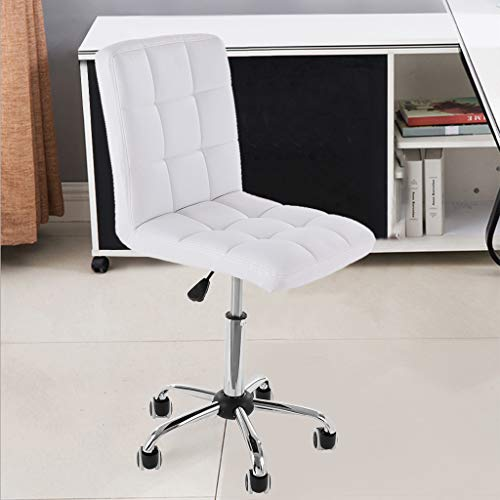 Simple Chairs for Office desks in Leather Ergonomic, Rolling Chair,Student Chair,Desk Chairs with Wheels,Desk Chair with arms,Swivel White Office Chair Adjustable Height Computer Task Chairs