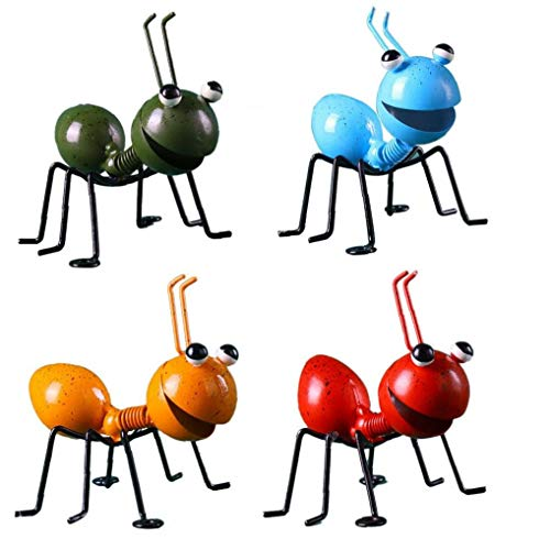 Garden Art Metal Sculpture Ant Ornament Colorful Cute Insect for Hanging Wall Art Garden Lawn Decor Indoor Outdoor 4PCS Garden Decorations