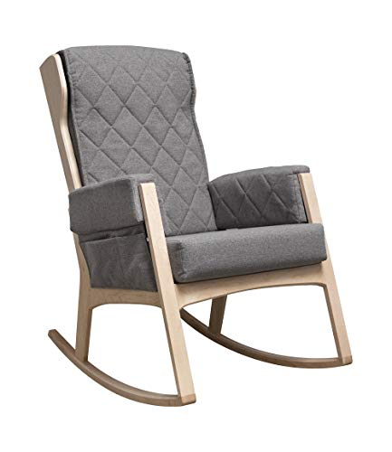 Dutailier Margot Rocking Chair with Washable Cushions (Natural Wood/Dark Grey)