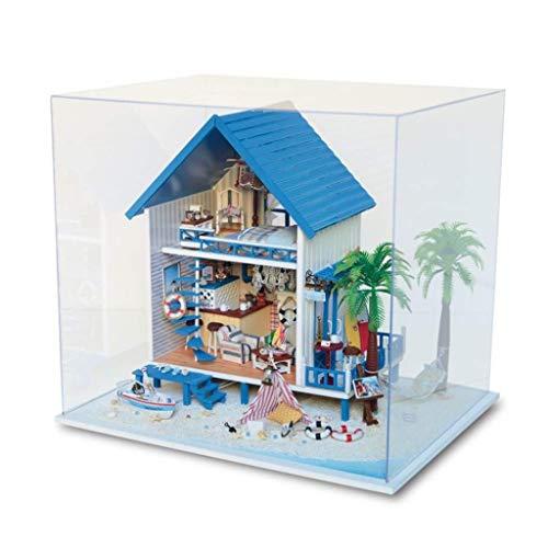 YSNUK DIY Dollhouse Griega Aegean Sea Casa Modelo con Luces Led y Polvo Cubierta Etc coleccionables de decoración for el hogar Accesorios, Arte, Enfriador de Vino.