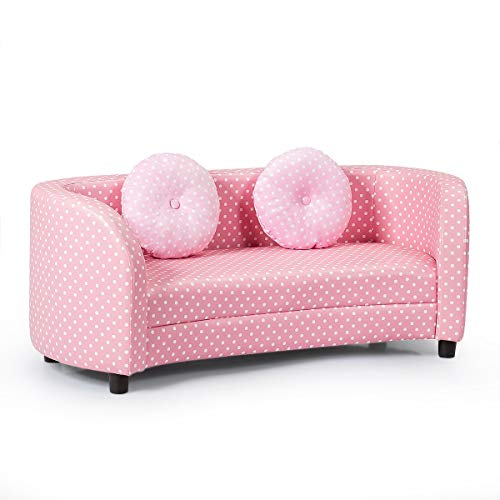 Costzon Kids Sofa Chair, 2 Seats Kids Couch Armrest Chair, Playroom Furniture with Two Cloth Pillows, Eucalyptus Frame Construction, Easy Movement, Perfect for Girls Aged 3-10, Pink