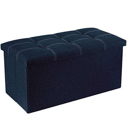 YOUDENOVA Sitzbank mit Stauraum Sitzhocker Sitztruhe Aufbewahrungsbox Fußbank Faltbar Leinenimitat Ottoman 76x38x38 BLAU