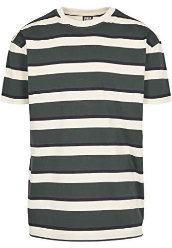 Urban Classics Oversized Block Stripe tee Camiseta, Multicolor (Sand/Bottle Green 02262), Medium para Hombre