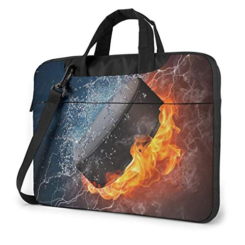 Ice Hockey Fire Laptop Schoudertas 15,6 inch Laptop Messenger Case Laptop Sleeve Draagtas met riem