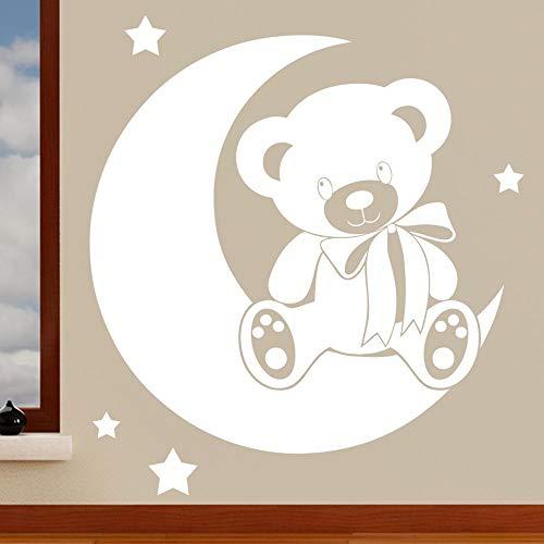 Ours sur la lune avec étoiles sticker mural pour enfant – Art Stickers en vinyle, facile à appliquer, sans applicateur, facile – enlever (Veuillez Choisir votre taille et couleur grâce à la sélection Boîtes) – par Rubybloom Designs, Blanc, Small - 53cm x 58cm