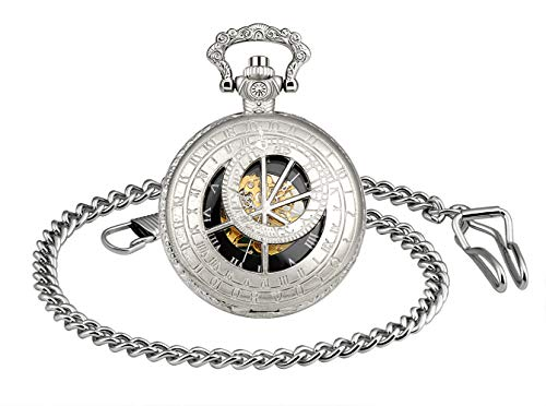 Unendlich U 12 Sternbilder Sternzeichen Herren Unisex Analog Klassische Taschenuhr mit Halskette Kette Retro Römische Ziffern Handaufzug Mechanische Kettenuhr
