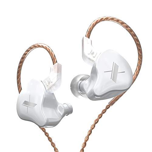 Fone de ouvido KZ EDX 1DD HiFi, Yinyoo EDX intra-auricular com driver dinâmico magnético composto de 10 mm com cabo destacável de 0,75 mm (sem microfone, branco)