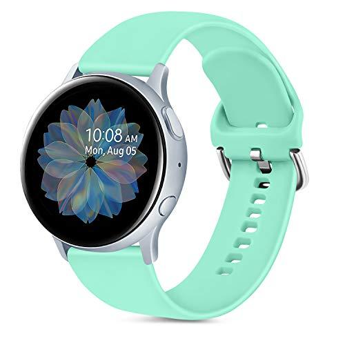 Oumida 20mm Correa Compatible con Samsung Galaxy Watch Active 40mm/Active2 40mm 44mm,Pulseras de Repuesto de Silicona Suave para Samsung Galaxy Watch 42mm/Watch 3 41mm/Gear Sport(S,Menta Verde)