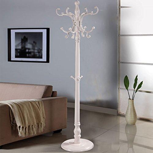 LXLA- Porte-manteaux en bois cintres au sol vêtements étagère d'installation étagère brun blanc 185 * 40 * 40 Cm (Couleur : Ivory)