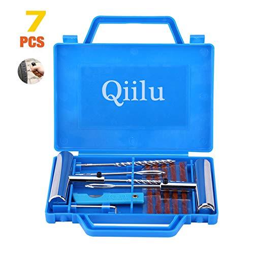 Qiilu 11pcs Kit de reparación de diagnóstico de neumáticos Herramienta de reparación de pinchazos de neumáticos sin rueda para motocicleta coche