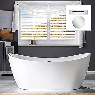 "WOODBRIDGE 71"" Freestanding Bathtub Contemporary Soaking Tub, White Acrylic (Chrome Drain/Overflow),B0017 C Drain &O"