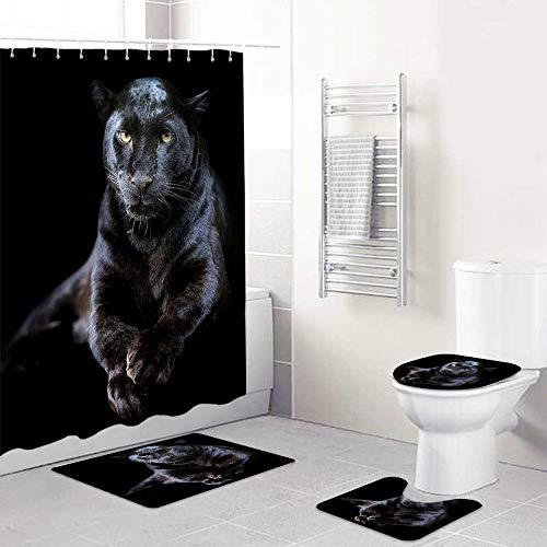 LONSANT Duschvorhang Set,3D Schwarzer Panther Safari Tier Nahaufnahme Leopard auf dunklem Hintergr& Big Cat Wildlife,Teppichen Toilettendeckel & Badematte Duschvorhang für mit 12 Haken