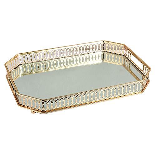 LOVIVER Bandeja rectangular con espejo, bandeja decorativa para servir, bandeja de perfume para tocador, bandeja organizadora de pulseras de tocador, baño, dorado