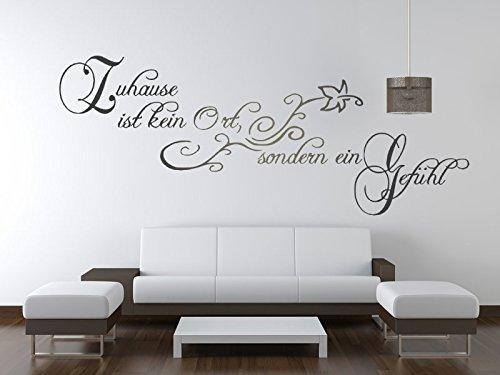 timalo® Wandspruch ZUHAUSE ist kein Ort sondern EIN Gefühl Wandtattoo Aufkleber Wohnzimmer Zuhaus Flur 1pt2-TK08 (B 100cm x H 40cm)