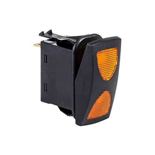 12V DC 20A 4-Pin LED ON-Off-ON SPDT Rocker Switch - Amber