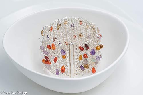 Silberarmband mit bunten Halbedelsteinen,Armschmuck für Damen,Unikatschmuck,Sterlingsilber,gehäkeltes Armband,Silberarmband