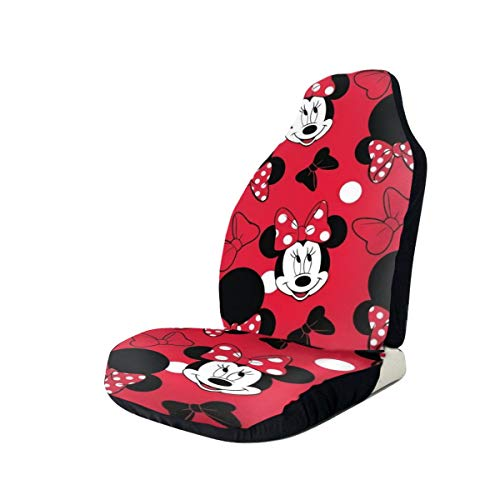 Light Rain Mickey Mouse Minnie Car Seat Covers Interior Mat Cushion Pad Accessories Super Soft Vehicle Seats Decoration Protector Cover Bag Van Fits Most Cars Sedan SUV (2 Pieces Set)