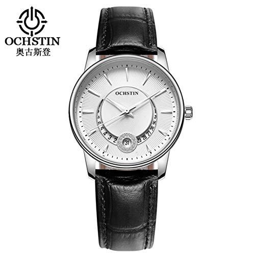DAUERHAFT Reloj de Diamantes de imitación con Movimiento de Cuarzo para Hombres y Mujeres de 2 Colores OCHSTIN, Elegante y Moderno, Bonito Regalo para Tus Amigos(Esfera Blanca + Correa Negra)