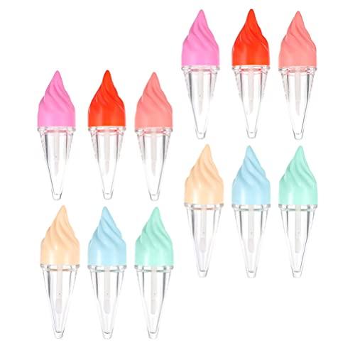 HEALLILY 12 Stuks Lege Lipgloss Buizen Ijs Vormige Clear Lipgloss Containers Lip Buizen Draagbare Make Container Voor Vrouwen (Willekeurige Kleur)