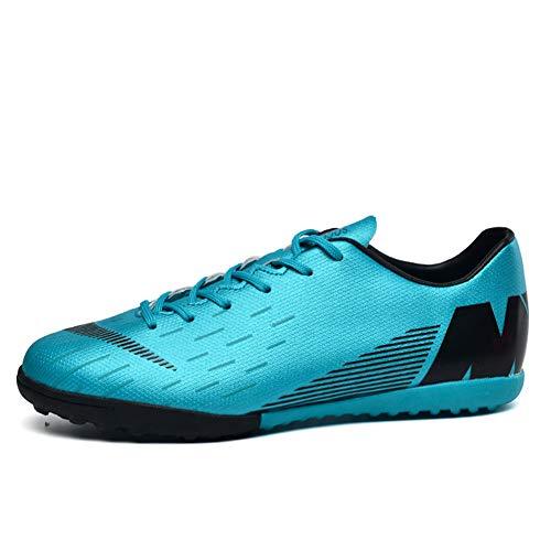 TAZAN Botas De Fútbol Profesional Hombre,FG/TF Zapatillas Futbol Sala Ligero Zapatos PU Cuero De Deporte Zapatos De Entrenamiento Niño Black Green (4 Color) 31-45EU
