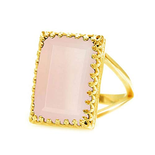JewelryGift Natural Rose-Quartz Faceted Rectangle Shape 18K Gold Plated Gemstone Rings Pink Fashion Jewelry Rings for Womens Z