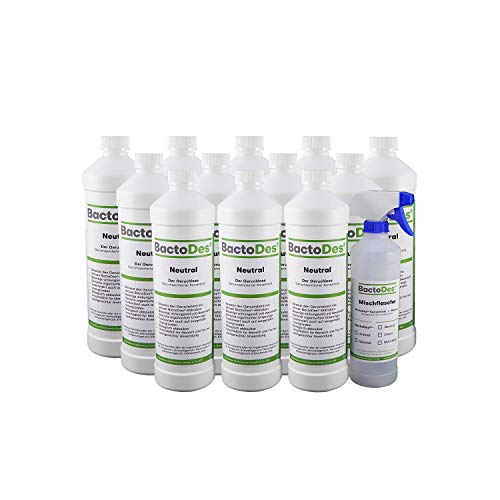 BactoDes Neutral Geruchsneutralisierer, Geruchsentferner, Geruchskiller Reiniger, Urin, Katzenurin, 12 x 1 Liter Spray