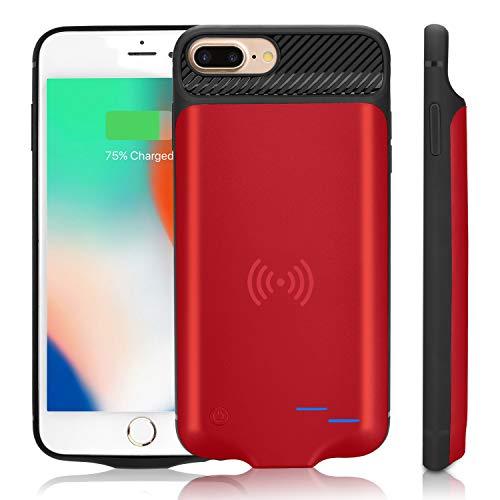 Qi - Carcasa de batería para iPhone 6 Plus/6S Plus/7 Plus/8 Plus, batería de Carga inalámbrica portátil de 5000 mAh, batería Externa Extra, batería Recargable, batería Externa (5.5 Pulgadas) Rosso