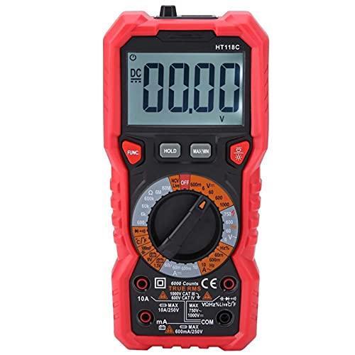 Multímetro digital AC DC Volt Ampere Ohm, Voltímetro Manual, Resistencia Hz-Temp Tester para Frecuencia para Oficina