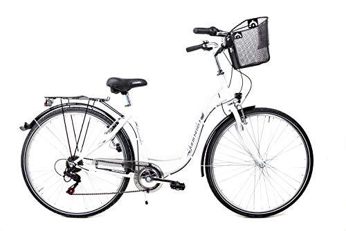 28 Zoll Damen Fahrrad City Bike Shimano 6 Gang mit Korb Weiss
