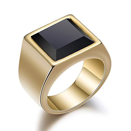 BVGA Anillo de acero inoxidable fino pulido de piedra de cristal negro n.º 11 anillo de oro para mujeres niñas hermanas amigas significativo regalo de joyería