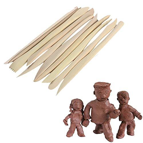 Hosaire 10x Holz Lehmpackung Holz Messer Keramische Skulptur Modellierungstools Adjustment Schärfen