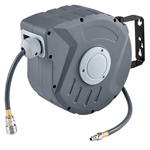 Juskys Druckluftschlauch Aufroller Pressure 10m automatisch 1/4 Zoll Schnellkupplung Schlauchaufroller Automatik Druckluft Schlauchtrommel