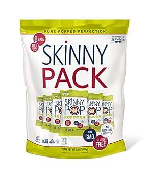 SkinnyPop Original Popped Popcorn 100 Calorie Bags Vegan Gluten-free Non-GMO 0.65oz Individual Snack Sized Bags  Pack of 6