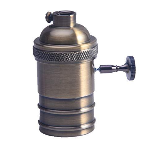 Retro-Lampenfassung für E26/E27, Antik Kupfer Messing Lampenfassung Schalter Glühbirne Sockel mit An/Aus-Schalter, für DIY Pendelleuchte Deckenlampe