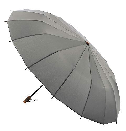 VOGUE Supermini Regenschirm 16 Stäbe Design inspiriert von den traditionellen japanischen Sonnenschirmen. Winddicht und Teflon-Finish. Grau grau