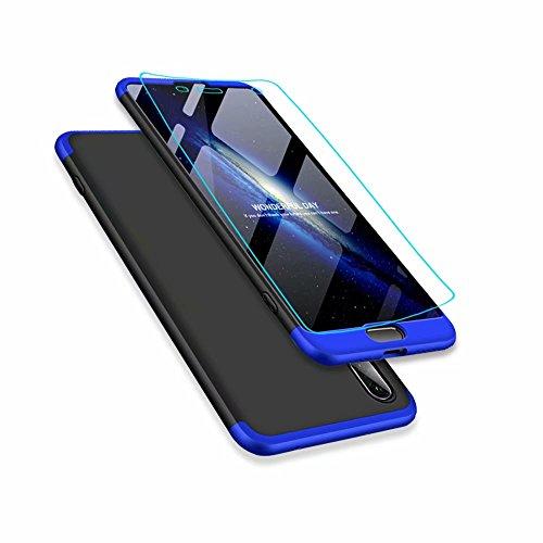 Custodia Huawei P20 Lite/nova 3e Case MISSDU Cover originale a 360 gradi Protezione Leggero Bumper Protettiva Caso+Pellicola Protettiva - blu nero