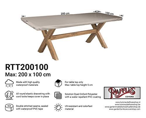 Raffles Covers NW-RTT200100 Tafelblad afdekking voor outdoor tafel 200 x 100 cm Cover voor tuintafel, Outdoor afdekking voor tafel, Cover voor terrastafel