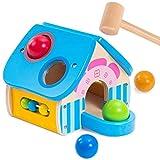 Vanplay Juguetes de Martillo de Madera, 4 en 1 Juego de Banco con Bolas para Bebés, Juegos de Casa para Niños 1 2 3 Años