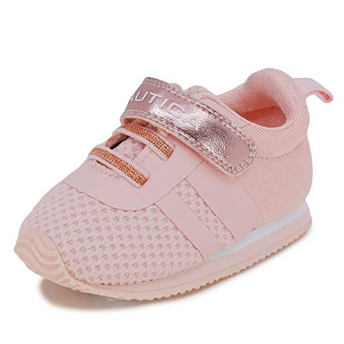 Nautica Infant Baby Shoe with Strap - Prewalker Crib Sneakers - Soft Sole Shoes for Newborn's First Walkers-Tiny Towhee-Rose Gold-3
