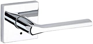Kwikset 91550-023 Lisbon Door Handle Lever with Modern Contemporary Slim Square Design for Home Bedroom or Bathroom Privacy In Polished Chrome