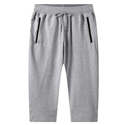 Hixiaohe Men's 3/4 Cotton Jogger Capri Shorts Sweatpants Workout Pants with Zipper Pockets (02 Gray, L)