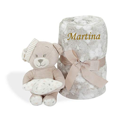 Set Peluche Manta Personalizada con nombre bordado Regalo re