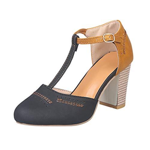 KItipeng Femme Escarpin Sandale en Soldes,Style Romain LanièRe Cheville Sandale Bloc Talon 5~8Cm,Pas Cher Femme ÉTé Mode Sandale Chaussure De Plage Vacances Loisir Chaussure