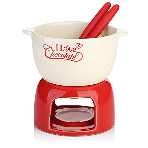 DOWAN Ceramic Fondue Set 17 OZ, Stylish Red Porcelain- For All Styles of Fondue Such As Cheese And Chocolate
