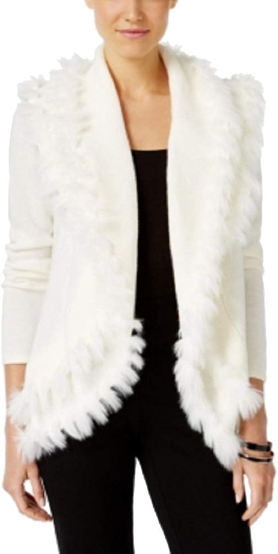 Alfani Womens Petites Faux Fur OpenFront Cardigan Sweater