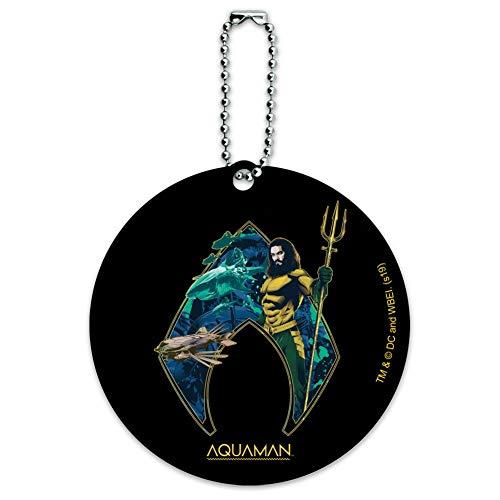 Aquaman Movie Atlantis Logo Round Luggage ID Tag Card Suitcase Carry-On