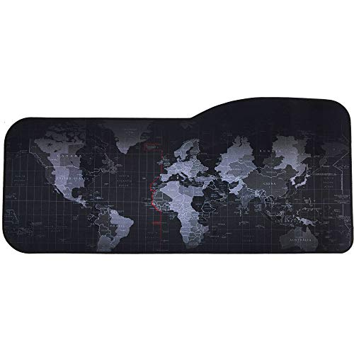 Professional Large Gaming Mouse Pad World Map Curved Extended Size Computer Laptop Keyboard Desk Mat Waterproof Mousepad with Stitched Edges Anti Slip Rubber Base for Gamer School Office Home