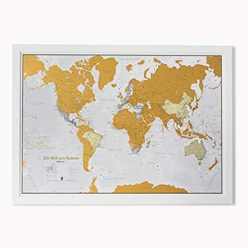 Weltkarte Zum Rubbeln mit Geschenkröhre in Deutsch - X-Large - 84x59 cm - Maps International - Über 50 Jahre in der Kartenherstellung - Kartografische Details mit Länder- und Staatsgrenzen