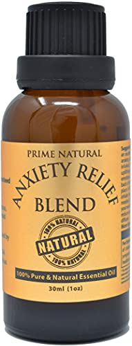 Prime Natural Anxiety Relief Essential Oil Blend 30ml / 1oz - Made in USA - Pure Undiluted Therapeutic Grade for Aromatherapy, Scents, Diffuser, Bracelet, Focus Grounding Calming, Boost Mood, Peace