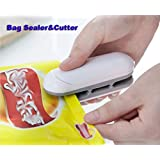 Amouy Bag Sealer 2 in 1 Heat Sealer and Cutter Use New Alkaline batteries Mini Handheld Sealer Heat Bag Sealer Mini Hand Pressure Heat Sealing Machine Mini Food Sealer Easy Use Bag Sealer With Hook